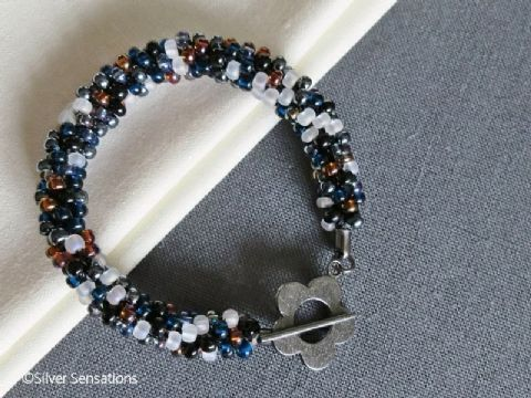 Black Mix Kumihimo Seed Bead Fashion Bracelet